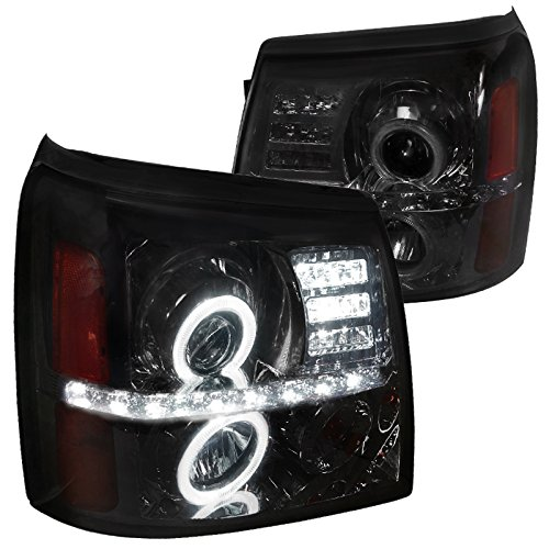 Spec-D Tuning 2LHP-ECLD02G-RS Cadillac Escalade Ext Esv Projector Halo Led Headlights Smoked
