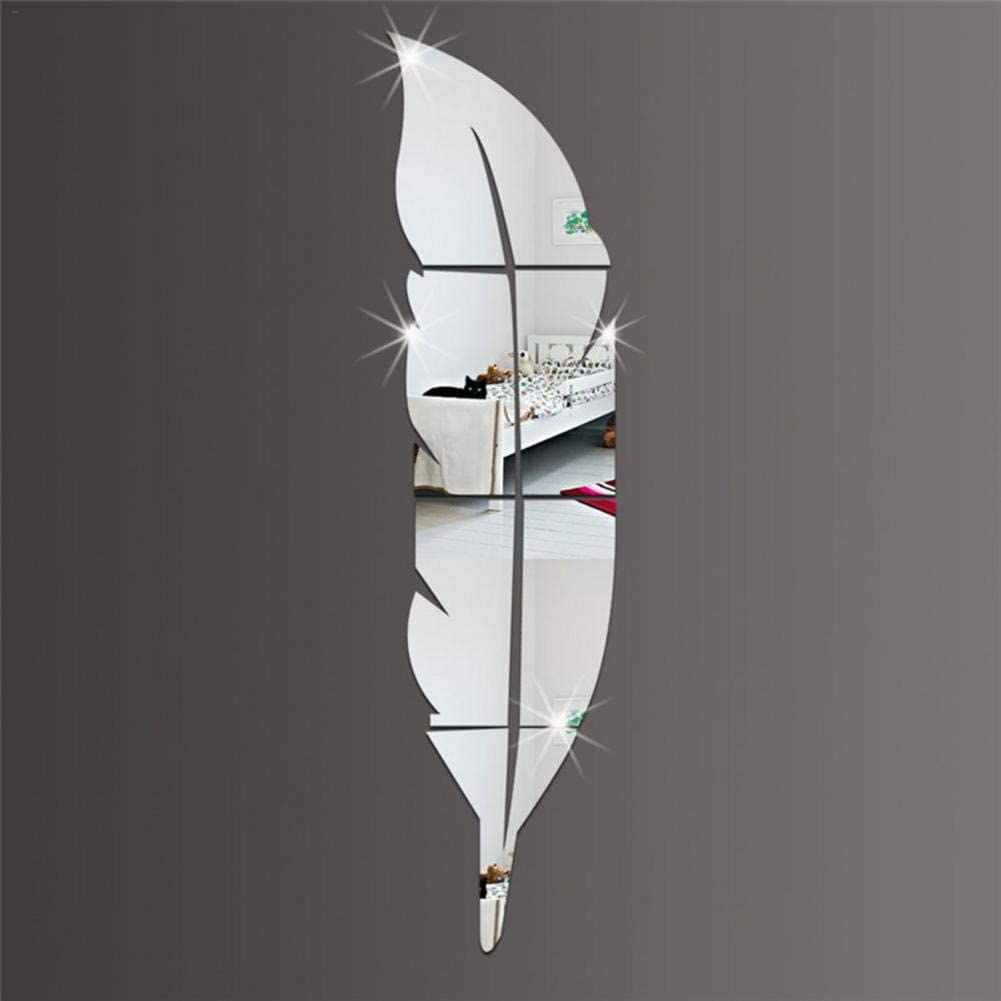 wendaby 15 72cm Grande Plume Miroir Sticker Mural Fond d/écoration Murale Miroir d/écoratif