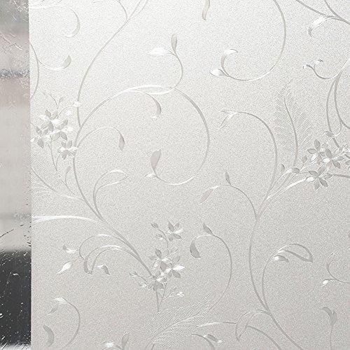 (Amposei Self Adhesive Static Cling Elegant Flower Glass Window Film)