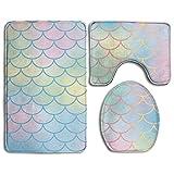 HYEECR Light Mermaid Scales Non-Slip 3 PCS Bathroom Rug Mats Set, Shower Mat And Soft Toilet Cover Mat, Anti Slippery Rug For Men Women Kids