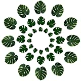 YEDREAM Tropical Palm Leaves Party Decor Artificial Silk Fabric Green Plant Leaf Leaves for Hawaiian Jungle Theme Parties BBQ Birthday Weedding Party Table Decorations Supplies 3 Sizes (36 Pcs)