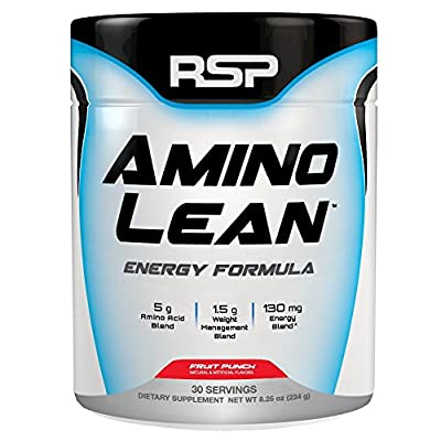 RSP AminoLean - Energy & Weight Loss Formula, BCAA Powder with CLA, Green Tea Extract and Caffeine for Building Lean Muscle and Burning Fat, Blackberry Pomegranate, 70 Servings