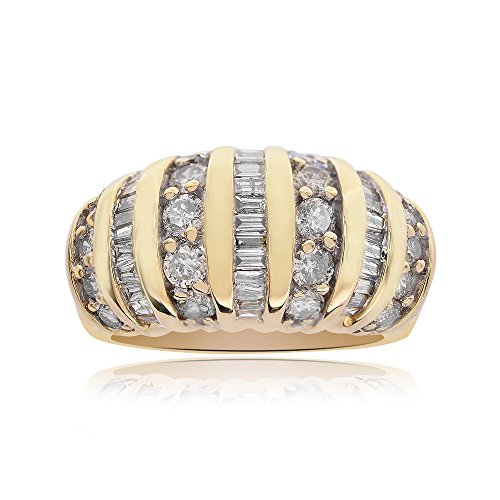 - Avital & Co. 2.00 Carat Diamond Baguette Round Cut Multi-Row Ring 14K Yellow Gold