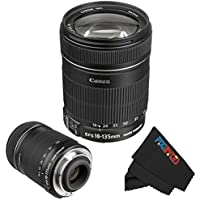 Canon EF-S 18-135mm IS Lens for Canon SLR Cameras + PixiBytes Micro Fiber Cleaning Cloth (Frustration Free Packaging)