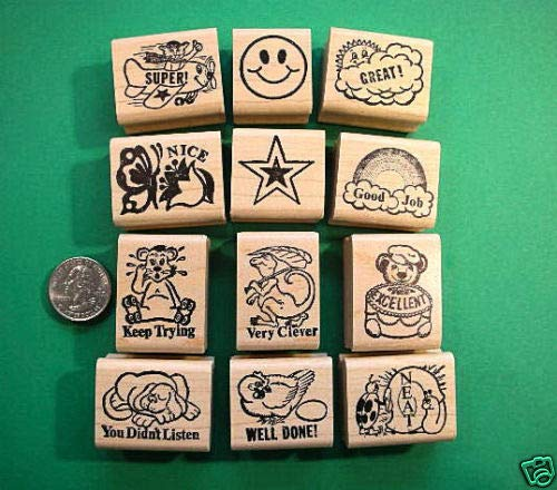 Teachers Rubber Stamp Set 12, for The Younger Children - Rubber Stamp Wood Carving Blocks by Wooden Stamps