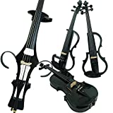 Aliyes Wood Electric Violin Full Size 4/4 Advanced Intermediate Electric Silent Carbon Fiber Violin Kit With Case,Bow,Rosin,headphones,Shoulder Rest,Strings(ALDSG-1311)
