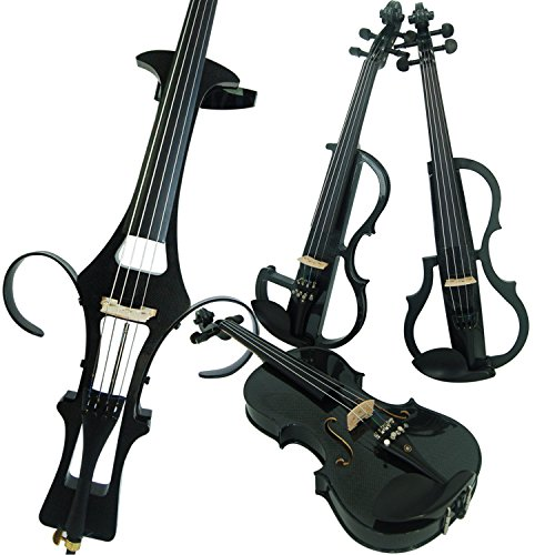 Aliyes Wood Electric Violin Full Size 4/4 Advanced Intermediate Electric Silent Carbon Fiber Violin Kit With Case,Bow,Rosin,headphones,Shoulder Rest,Strings(ALDSG-1311) by Aliyes
