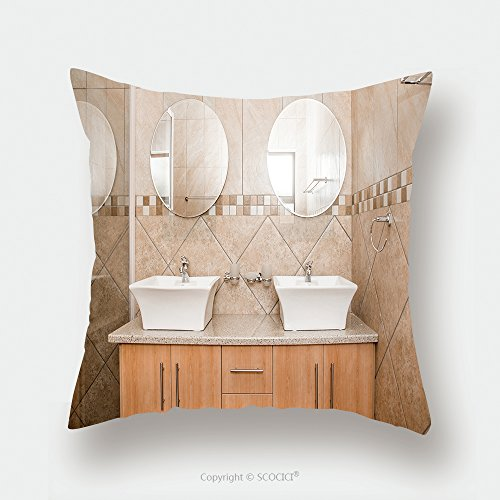 Custom Satin Pillowcase Protector The Interior Of The Bathroom Of A Brand New House Showing The Double Basins Mirrors And Shower 260635163 Pillow Case Covers Decorative by chaoran