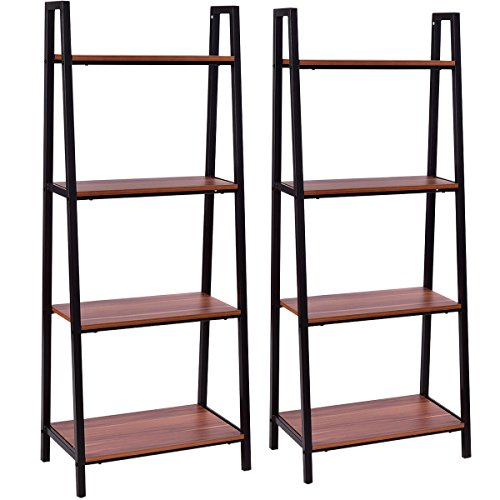 Tangkula 4-Tier Ladder Shelf Ladder Bookcase Indoor Outdoor Wood Bookshelf Display Shelves Plant Flower Stand Shelf (2) (Stands Display Outdoor)