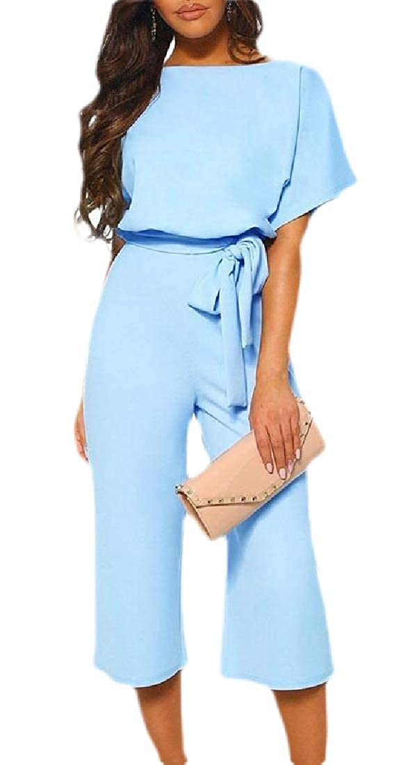Xswsy XG Womens Jumpsuit Rompers Short Sleeve Playsuit Clubwear Wide Leg Jumpsuit