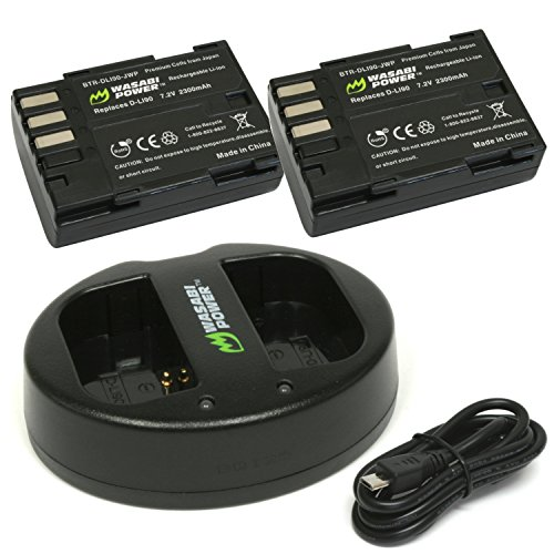Wasabi Power Battery (2-Pack) and Dual USB Charger for Pentax D-LI90 and Pentax 645D, 645Z, K-01, K-3, K-5, K-5 II, K-5 IIs, K-7