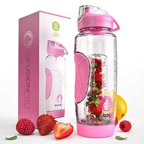 Water Infuser Bottles with Insulated Sleeve & Infused Water eBook :: Bottom Loading, Large Cage for More Flavor & Pulp Strainer :: Delicious, Healthy Way to Up Your Water Intake ()