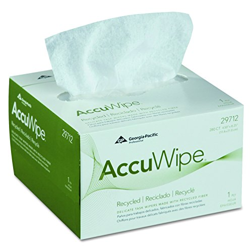 Georgia Pacific Professional 29712 AccuWipe Recycled One-Ply Delicate Task Wipers, 4 1/2 x 8 1/4, White, 280 per Box (Case of 60 Boxes)