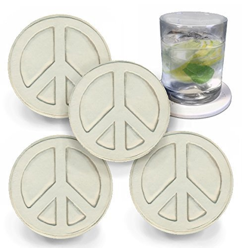 Peace Sign Drink Coasters by McCarter Coasters, Absorbent, Light Beige 4.25 inch (4pc) (Sand Peace Sign)