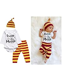 Snuggle this Muggle Baby Boys Girls Romper Pants Hat Outfit Set Clothes