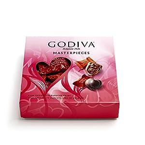 Godiva Chocolatier Valentine's Day Masterpiece Milk Chocolate Caramel Lions and Dark Chocolate Ganache Hearts Gift Box