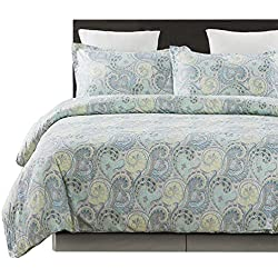 Vaulia Lightweight Microfiber Duvet Cover Sets, Paisley Pattern Design, Queen Size