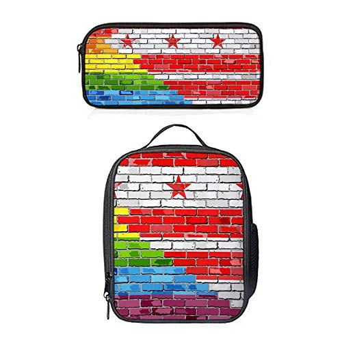 SARA NELL Boys Girls Lunch Bag&Pencil Case Set Kids Lunch Backpack with Straps Lunch Box Lunch Tote Brick Wall Washington Dc And Gay Flags