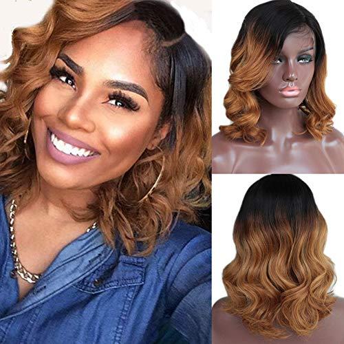 TopFeeling Short Human Hair Bob Wigs Ombre Brazilian Hair Body Wave Lace Front Wig for Black Women (Best Ombre Short Hair)