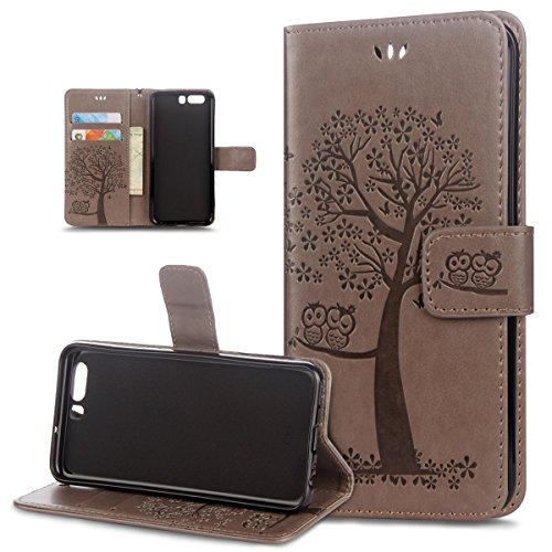 (Huawei P10 Case,Huawei P10 Cover,ikasus Embossing Owl Butterfly Cherry Blossoms Tree Pattern Flip Folio Wallet Case PU Leather Stand Protective Case Cover for Huawei P10,Gray)