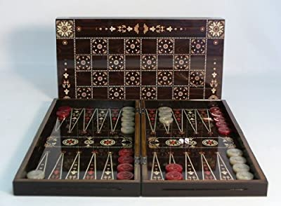 19 in. Floral Wooden Backgammon Set with Chessboard