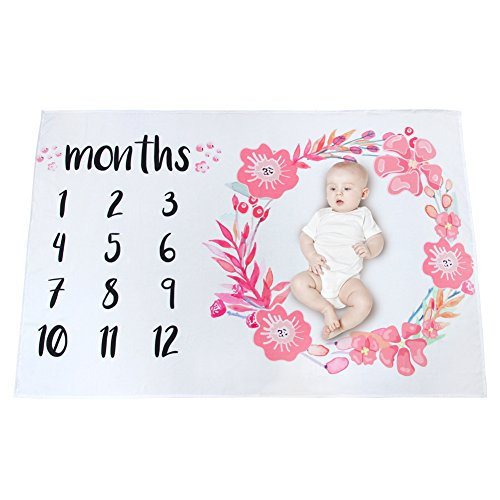 MHJY Baby Monthly Milestone Blanket Photo Props Shoots Backdrop Milestone Mats Growth Blanket Newborn Boys Girls Swaddling Blanket for Photography-New Mom Baby Shower Gifts ()