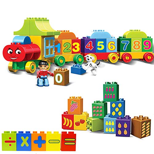WISHKEY Plastic Colorful Number Train Building Blocks Learning Numbers  amp; Counts Early Educational Block Game Play Set Toy for Kids 75 Pieces, Mult