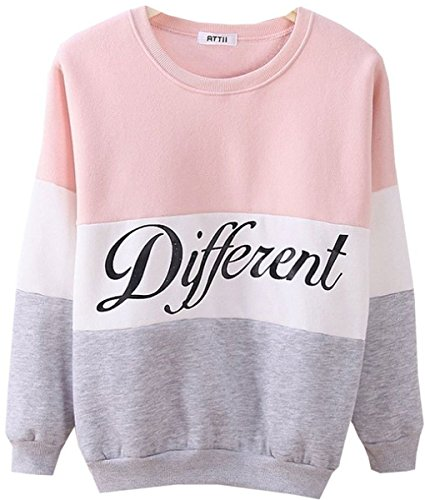 Cute Hoodies Sweater Pullover Letters Diffferent Printed Mix Color (X-Large, - Pink Color Mix