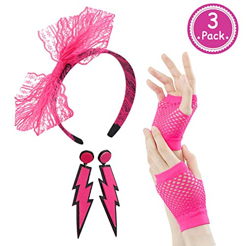 80s Outfit - Womens 80s Fancy Outfit Costumes Accessories Set Leg Warmers Fishnet Gloves Neon Earrings Bracelet and Beads (Hot Pink)