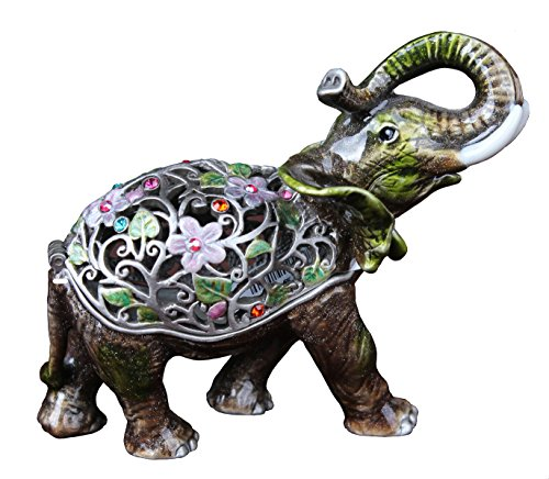 znewlook Pewter Antiqued Flowered Elephant Jewelry Trinket Box Retro Thailand Elephant Gifts ()