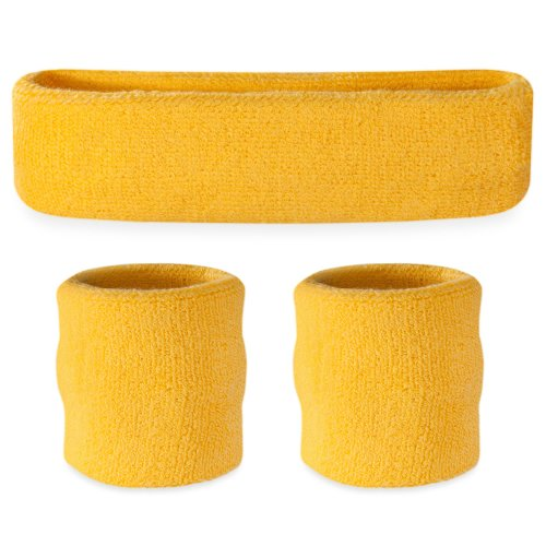 Suddora Yellow Headband / Wristband Set - Sports Sweatbands for Head and (Globo Gym Costume)