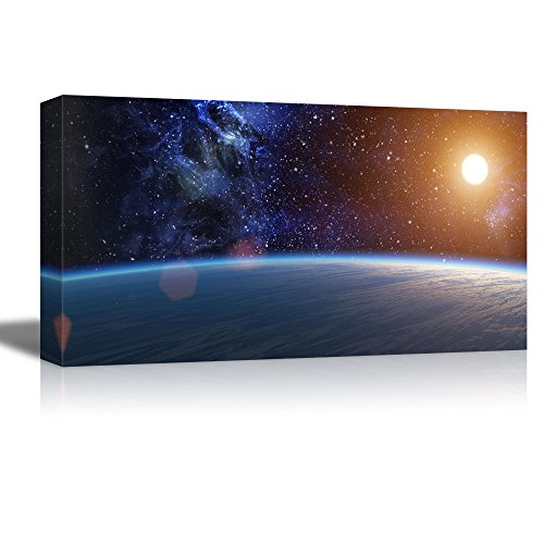 Wall26 Canvas Prints Wall Art   Blue Planet With Bright Star On Nebula  Background | Modern Wall Decor/ Home Decoration Stretched Gallery Canvas  Wrap Giclee ...