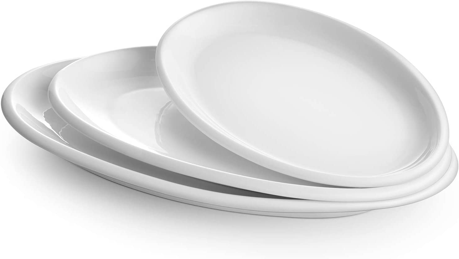 Amazon Com Dowan Large Serving Platters 16 14 12 Inches Oval Serving Platters Oval Serving Plates Dinner Plates Serving Dishes Ideal For Parties Restaurant Dessert Shop Set Of 3 White Platters