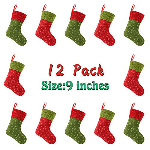 Solucky 12PC Mini Christmas Stockings with Snowflake, 9'' Party Decorations/Gift Bags, Red & Green -