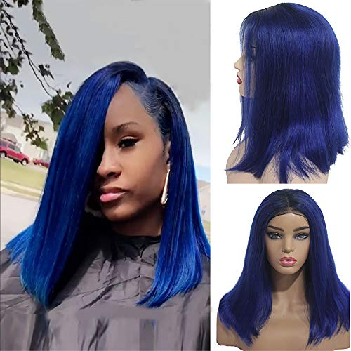 Myfashionhair Inexpensive Human Hair Wigs Silky Straight Hair Wigs Online 12 inch 180% Density Discount Lace Front Wigs with 13x4 Swiss Lace and Adjustable Cap (#1B/Blue) -
