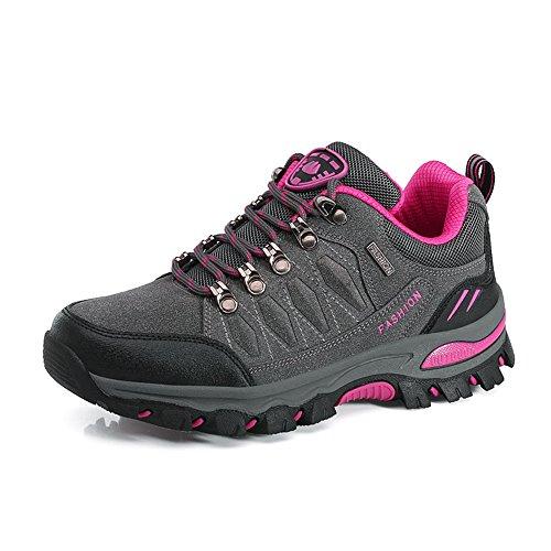 Dreamshow Wanderschuhe Trekking Schuhe Herren Damen Wanderhalbschuhe Leichte Atmungsaktive Outdoor Hiking Schuhe Sneaker 35-47 Grau/Pink