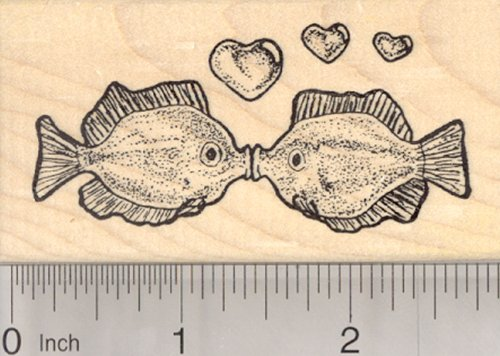 (Valentine's Day Kissing Fish Rubber Stamp, with Hearts)