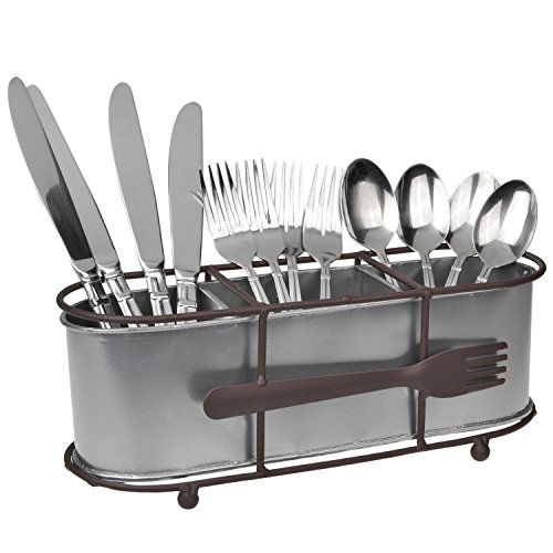 Brown Metal Silverware Organizer / Tabletop Utensil Storage Rack / Flatware Caddy Basket w/ Fork - Ornaments Utensil