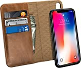 Raw Leather Co. Genuine Leather Brown Wallet Case with Protective Cover for Apple iPhone X - For Men and Women- Auto Sleep/Wake Function- Wireless Charging & Magnetic Car Mount Holder Kickstand