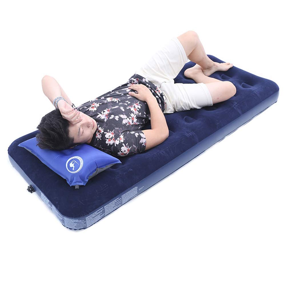 Single Flocking Inflatable Bed Household Air Mattress Thicken Cushion Soft Outdoor Sofa Blue Portable Air Bed, 191x76cm CIM0929 by ZCY-Auto Mattress