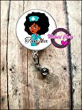 AfroNurse(African-American).Retractable badge holder, nurse gift, ob, L&D, id holder, reel, RN, LPN, CNA Personalized Christmas Gift Midwest Charm
