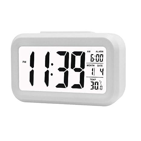 VGROUND Reloj de Alarma Digital Reloj Despertador Digital Inteligente Reloj de Alarma Digital LED de Pantalla