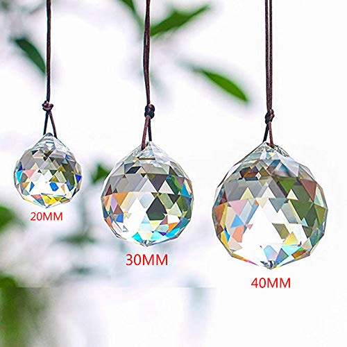 SunAngel Faceted Crystal Ball Chandelier&Clear Jewelry Crystals Pendants Prisms Rainbow Ceiling Lamp Lighting Hanging Drop Pendants Home,Office Wedding Decor (20/30/40mm)