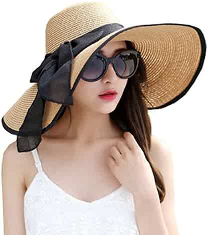 8326f0aa DRESHOW Beach Sun Hat for Women Wide Brim Floppy Straw Sun Hats Roll up  Packable UPF