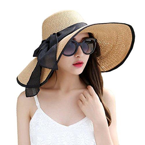 (DRESHOW Womens Bowknot Straw Hat Foldable Beach Sun Hat Roll up UPF 50+)