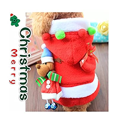 fa50d9eb02d2 Stock Show Pet Christmas Costume with Bell Dogs Cute Santa Claus Clothes Xmas  Hoodies Outfits for