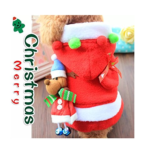 Stock Show Pet Christmas Costume with Bell Dogs Cute Santa Claus Clothes Xmas Hoodies Outfits for Small - Medium Dogs Puppy Cats, XL - House Elf Dog Costume