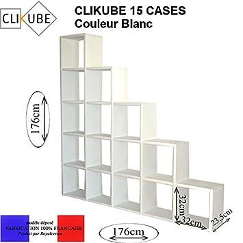 Meuble Modulable Clikube Bibliotheque 15 Cases Escalier