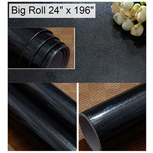 Oxdigi Black Contact Paper for Countertops Cabinets Decorative Self-Adhesive Film Peel and Stick Removable Waterproof Wallpaper 24