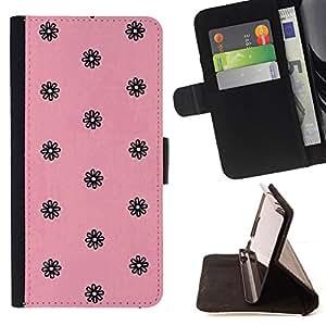 - pink black vintage retro floral wallpaper - - Prima caja de la PU billetera de cuero con ranuras para tarjetas, efectivo desmontable correa para l Funny HouseFOR HTC One M8
